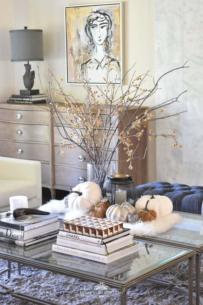 Elegant Warm and Cozy Fall Coffee Table Styling in Living Area