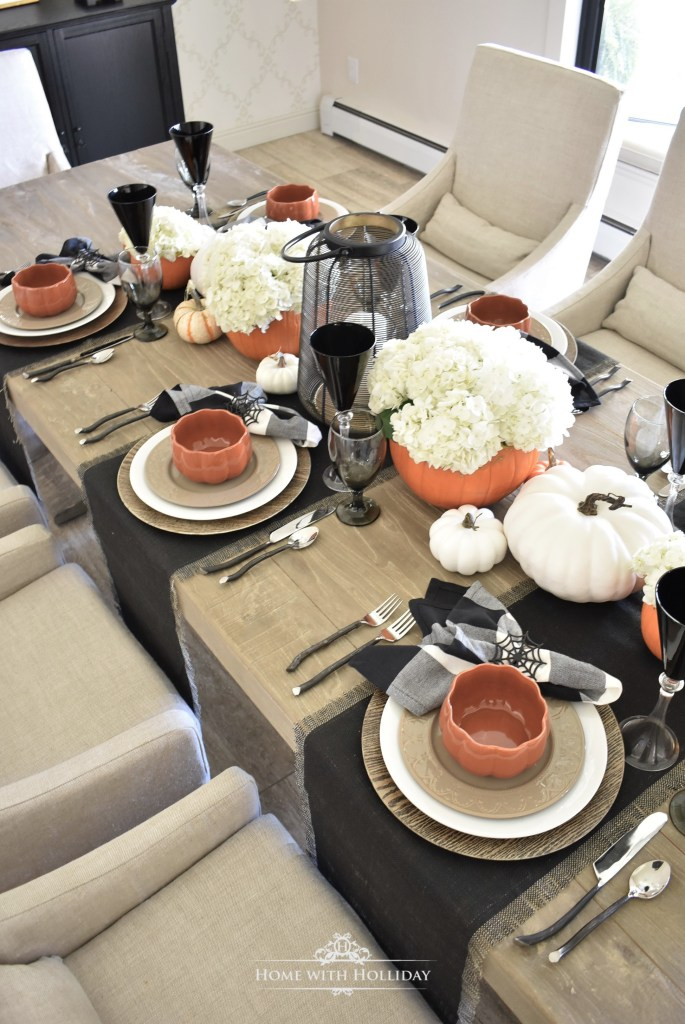 Easy Elegant Halloween Tablescape with Fresh Hydrangeas - Home with Holliday