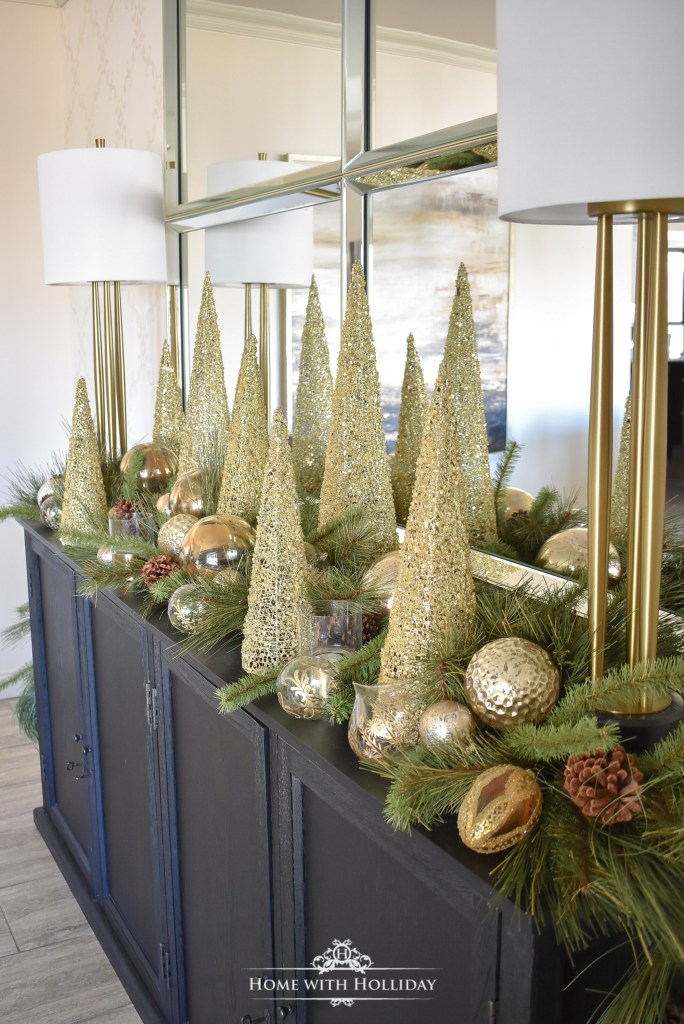 Green and Gold Elegant Christmas Cone Tree Centerpiece - Home with Holliday