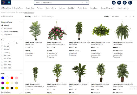 "Go search ""Nearly Natural plants"" and so many options will pop up"