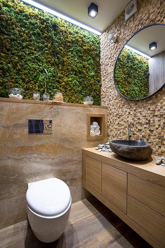 Bathroom Eco Design With Small Vertical Gardens
