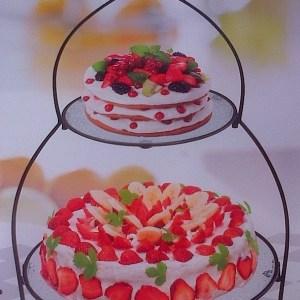 GLASS 2 TIER PYRAMID CAKE DISPLAY STAND
