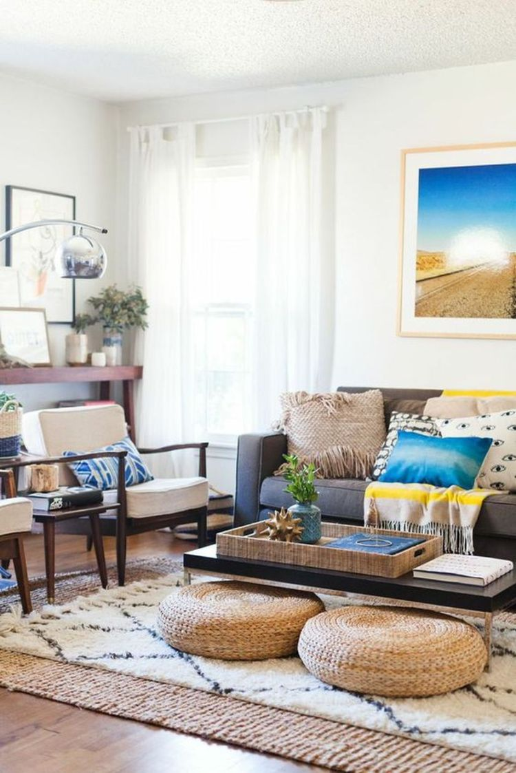 Cozy living room with rugs and low seating style by Christine & Steven of VeeCaravan (source pinterest.com)