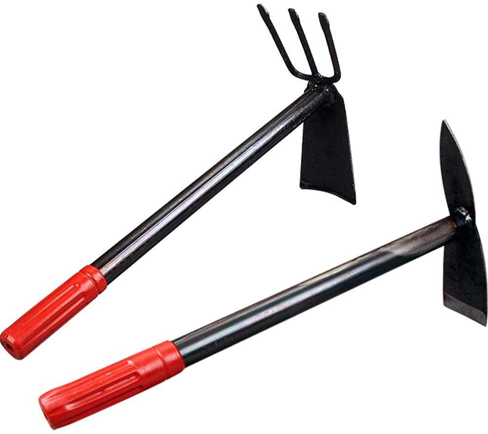 Amazon.com : Kelendle 2 Pack Hand Garden Tools Set Hand Hoe and Cultivator Combo Carbon Steel Hand Tiller Hand Digger Pick Mattock Dual Headed Garden Hoes Weeding Tools for Loose Soil Outdoor