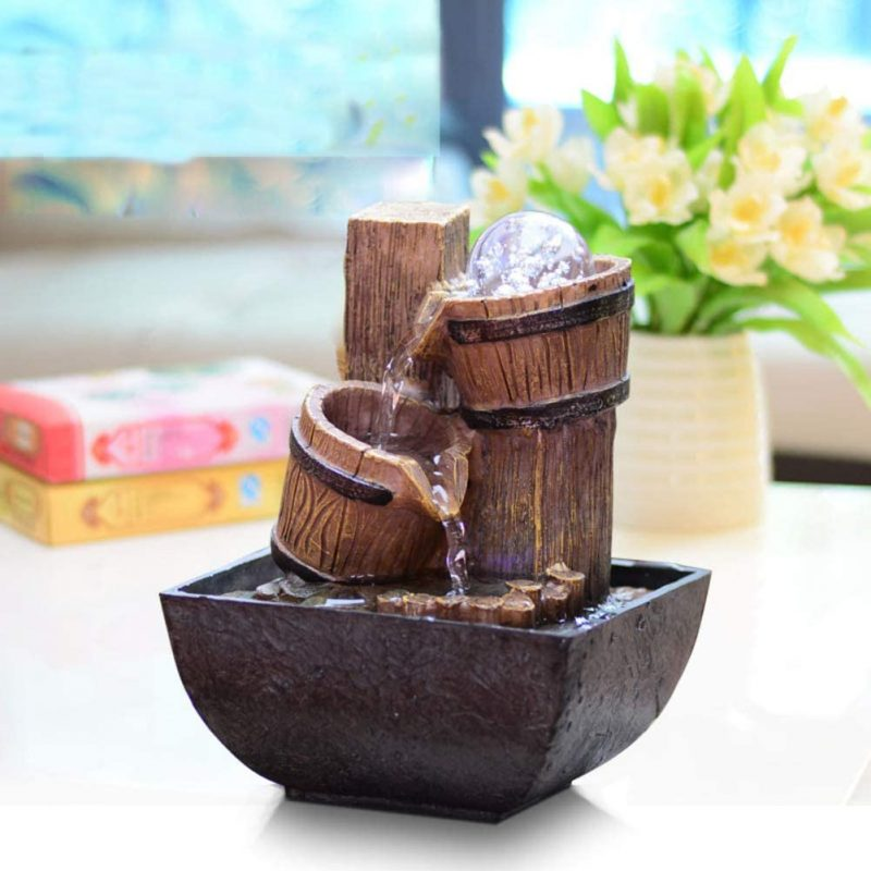 Amazon.com: LYCIL Desktop Flowing Water Fountain,European Style Small Ornaments Feng Shui Wheel Creative Gift Bamboo Decoration for Indoor Outdoor B: Home & Kitchen