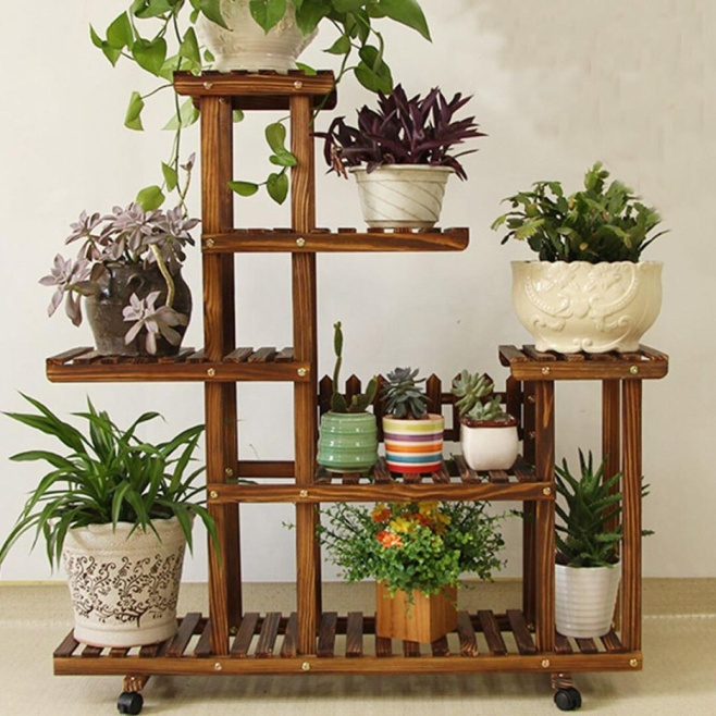 Bamboo Plant Flower Pot Stand Garden Planter Nursery Pot Stand Shelf Indoor Outdoor Garden Decoration Gifts Tools With Wheels Pot Trays  - AliExpress