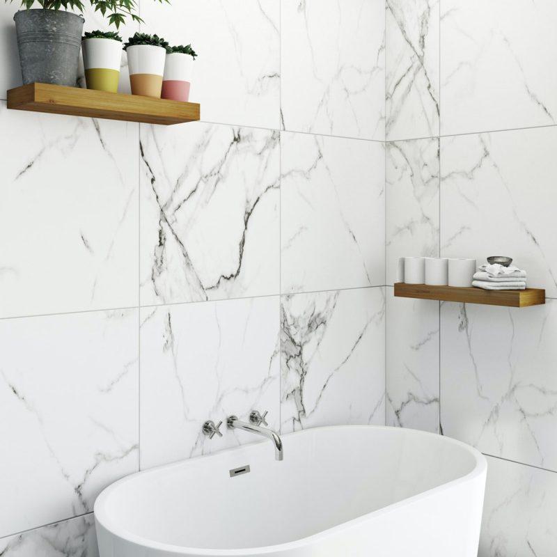 Polar white marble effect matt wall and floor tile 600mm x 600mm |  VictoriaPlum.com