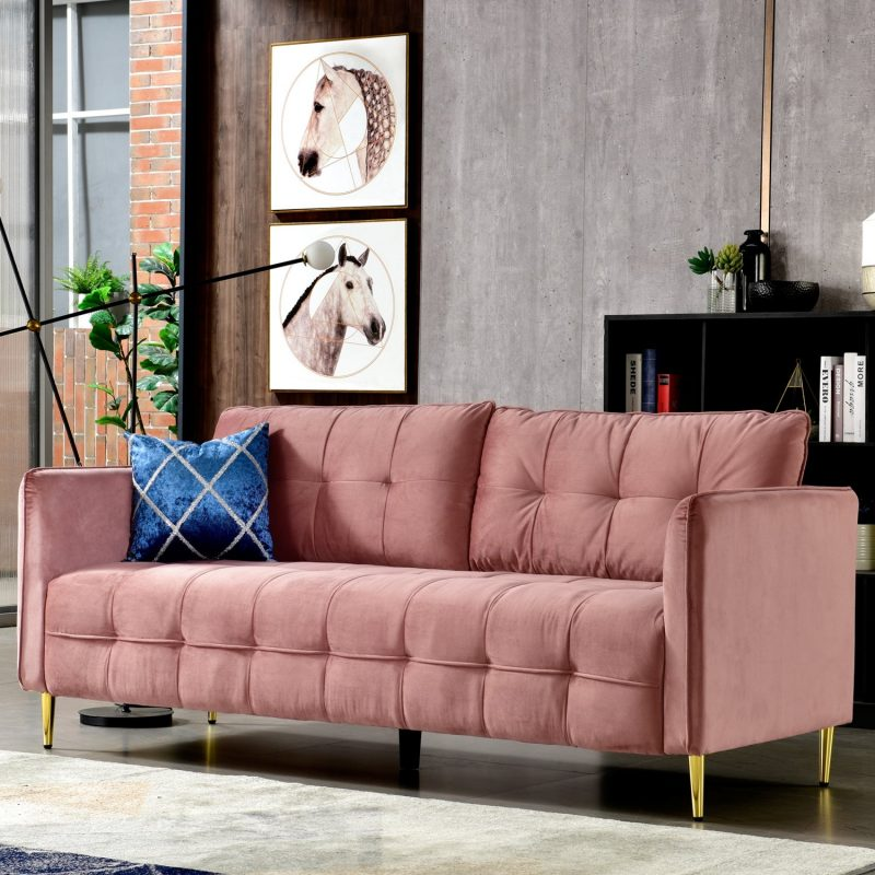 Shop Ovios High back Couch,Mid-Centry Spring Upholstered sofa,71 inch  Velvet fabric Futon with metal golden leg for living room - On Sale -  Overstock - 31414923