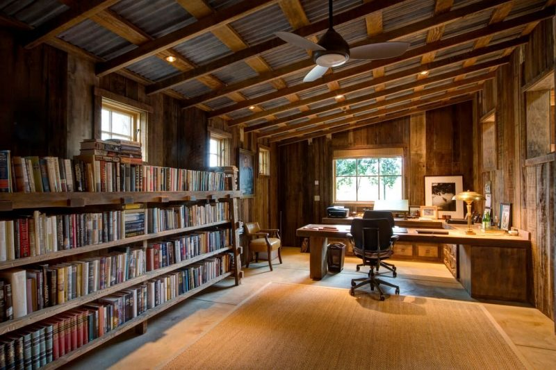 51 Functional Home Office Designs - Home Awakening | Rustic home offices, Rustic  house, Cabin homes