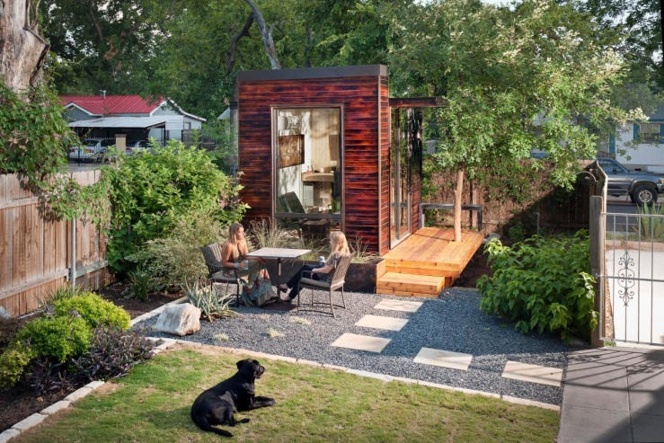 Backyard With Home Office Studio and Cafe Table   HGTV