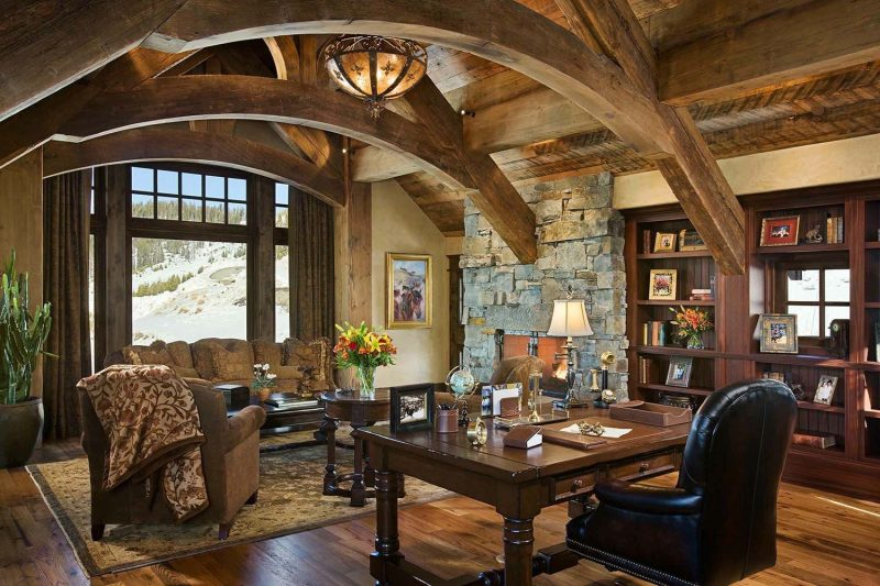 hillside snowcrest ultimate modern rustic ski chalet timber frame  architects mountain home architects ti… | Rustic home offices, Rustic  house, Rustic home interiors