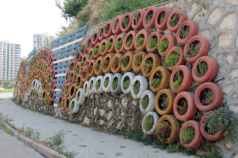Mosaic Tire Wall