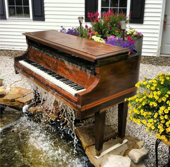Piano Waterfall-how cool is this!! | Outdoor backyard, Piano, Ponds backyard