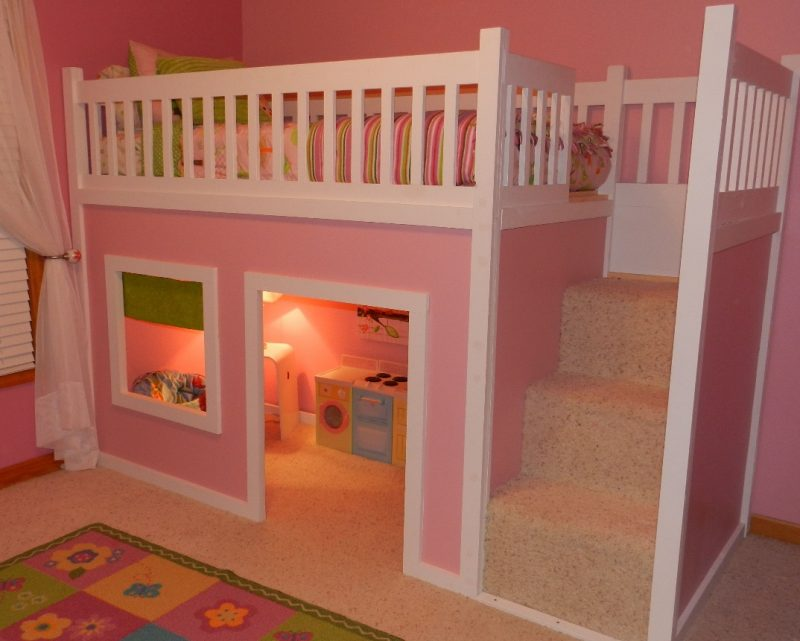 Playhouse Loft Bed with Stairs | Do It Yourself Home Projects from Ana White--Jaci would LOVE this! | Diy toddler bed, Playhouse loft bed, Home
