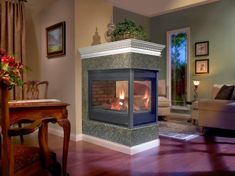 Stone & Brick with Peninsula Fireplaces - Hearth and Home Distributors of  Utah, LLC.