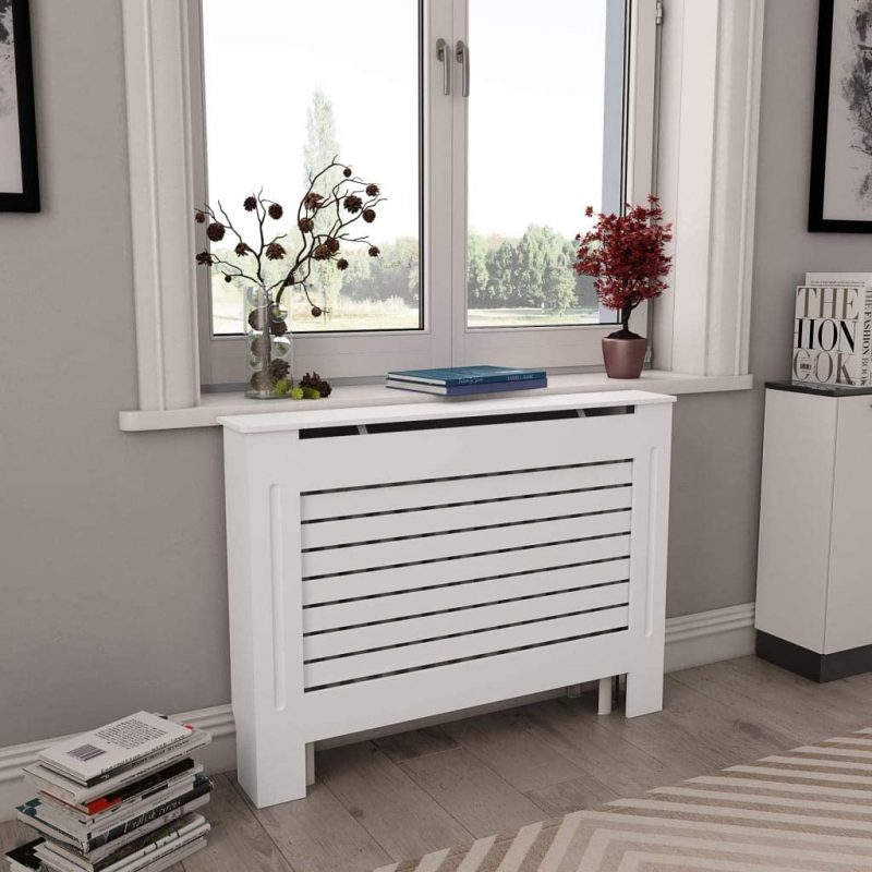 """Amazon.com: EBTOOLS Radiator Shelf Space, MDF Radiator Cover Display Stand  Heating Cabinet with Ventilation on Both Sides for Living Room Furniture  Decor White 44"""" x 7.5"""" x 32"""": Home & Kitchen"""