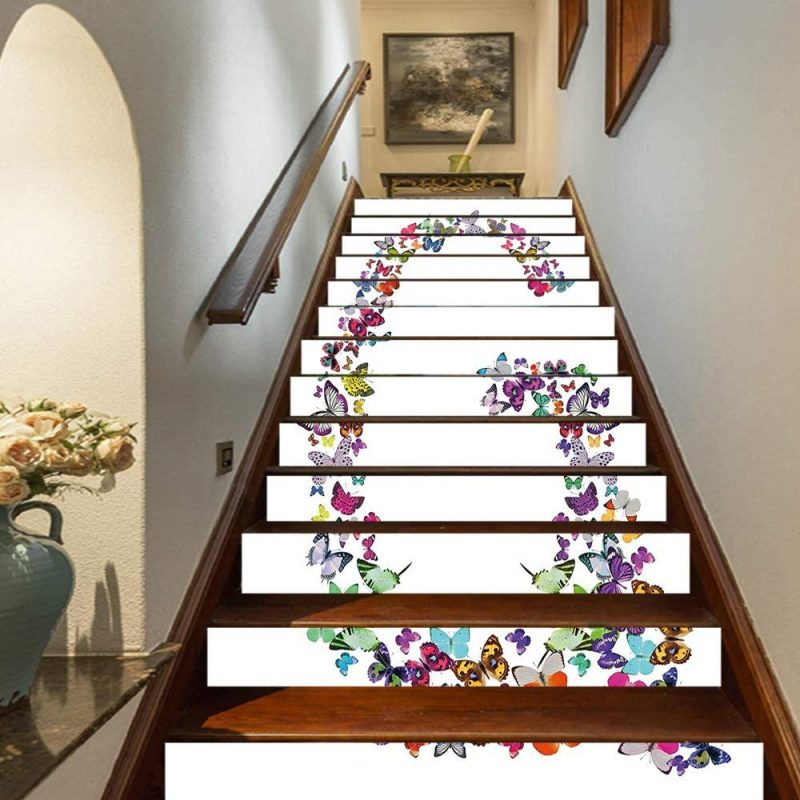 "Amazon.com: Letter G Staircase Stickers,Exotic Colorful Butterflies in The Shape of Letter G Cute Feminine Girls Design Decorative Self-Adhesive Wall Stair Stickers Mural Wallpaper for Home Decor,39.3""x7""x13PCS: Home & Kitchen"