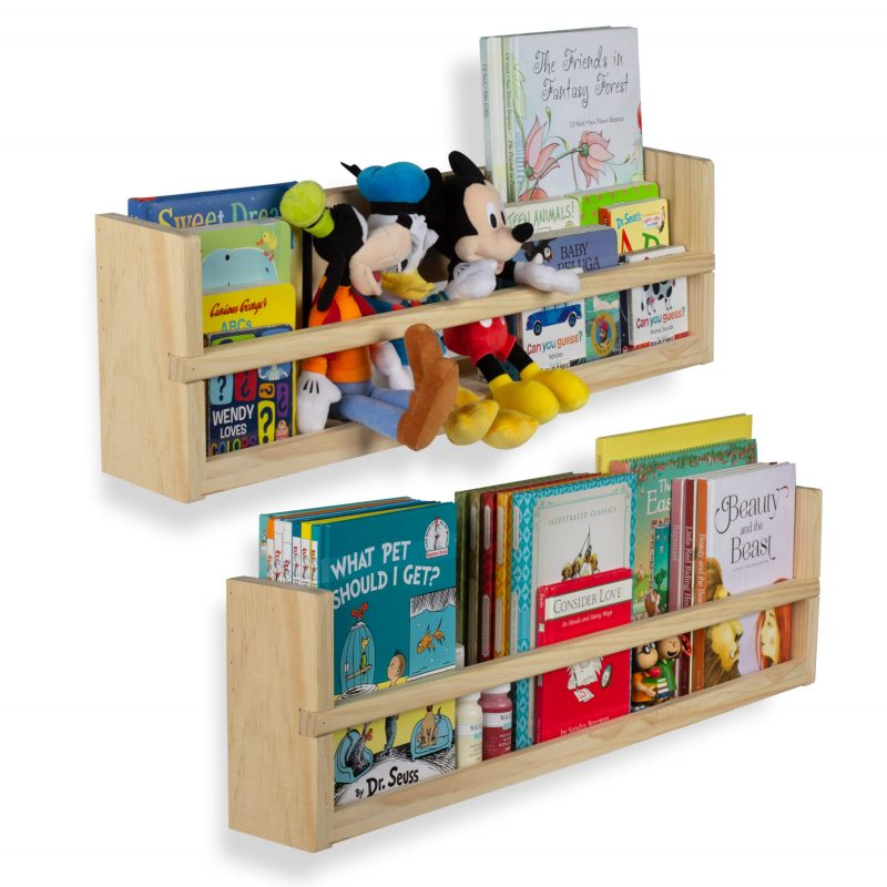 Amazon.com: Nursery Décor Wall Shelves – 2 Shelf Set – Wood Floating  Bookshelves for Baby & Kids Room, Book Organizer Storage Ledge, Display  Holder for Toys, CDs, Spice Rack – Ships Assembled (