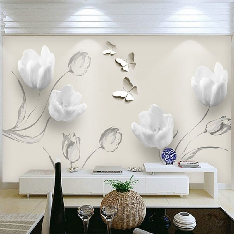 Custom Mural Wallpaper Modern 3D Stereo Tulip Butterfly Flowers Wall Painting Fashion Living Room Home Decor Wall Papers For 3 D - OnshopDeals.Com