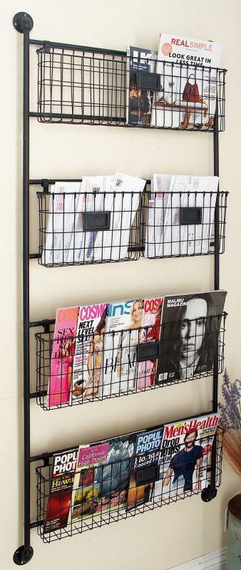 """Decmode - Large Black Metal Basket Wall Rack, 27"""" x 61"""" - Walmart.com in  2020   Baskets on wall, Metal wall basket, Wall organization"""