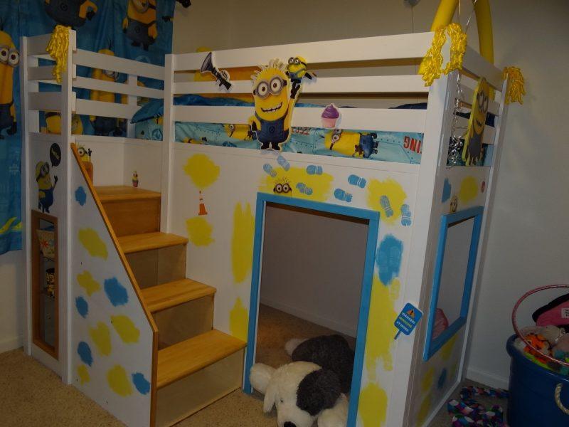 Despicable Me Minion Theme Playhouse Loft bed | Minion room decor, Kid room  decor, Simple bedroom decor