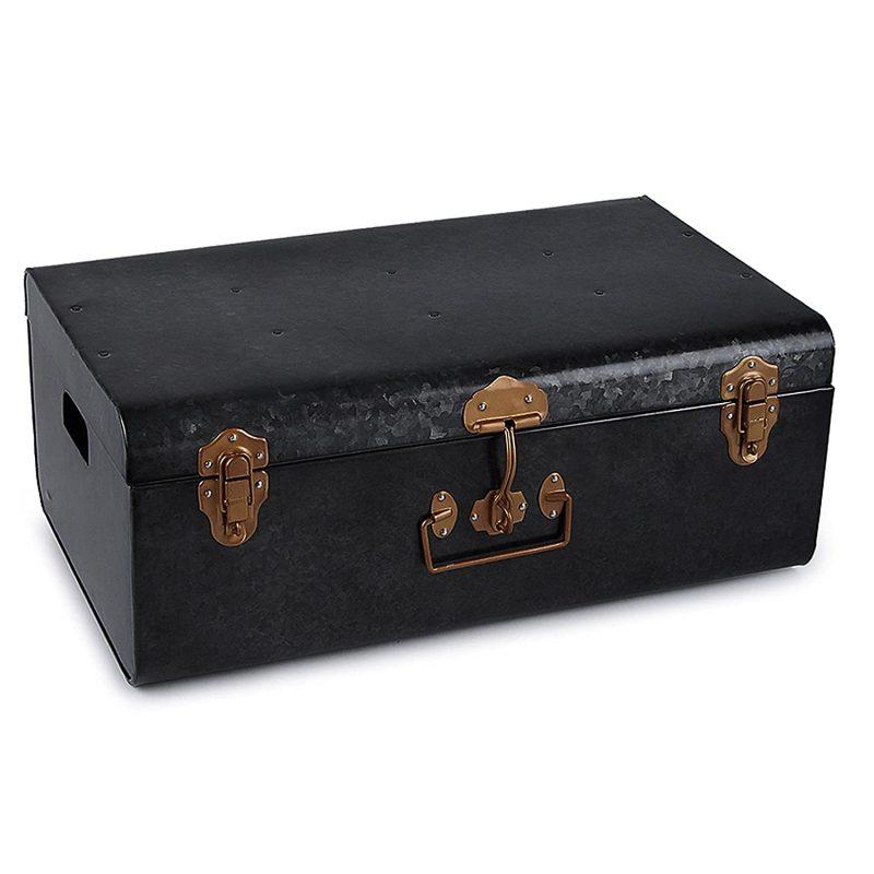 Elan Vintage Style Buxa Metal Trunk Box, Storage Box, Set of 2, Black:  Amazon.in: Home & Kitchen