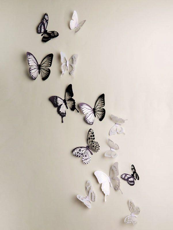 Home & Garden Home Décor 18Pcs Modern Black And White 3D Butterfly Sticker Art Wall Decal Home Room Decor Home Décor Home & Garden eglespaintings.lt