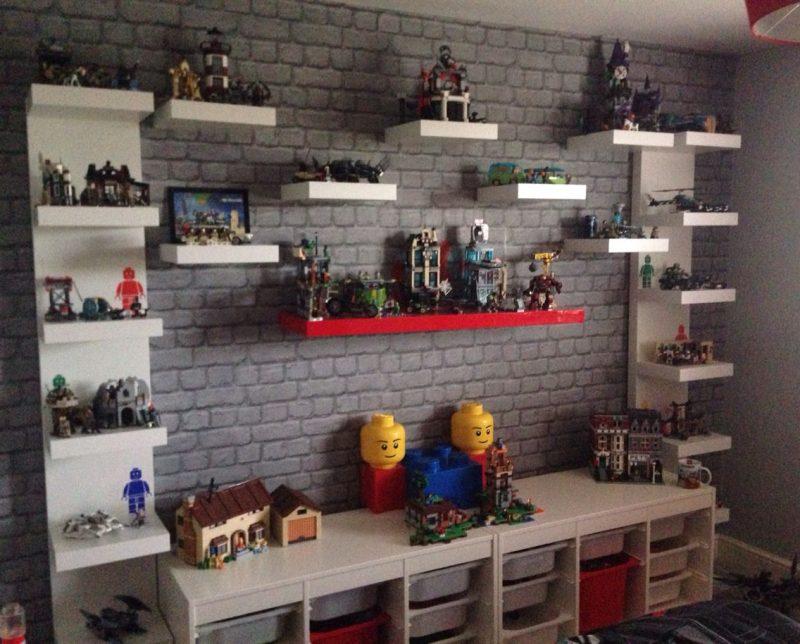 Lego creation station. Lego display unit. Lego organisation. Lego storage.  Shelving unit. Lego shelving. Kids Lego…   Lego bedroom, Kids room paint,  Small kids room
