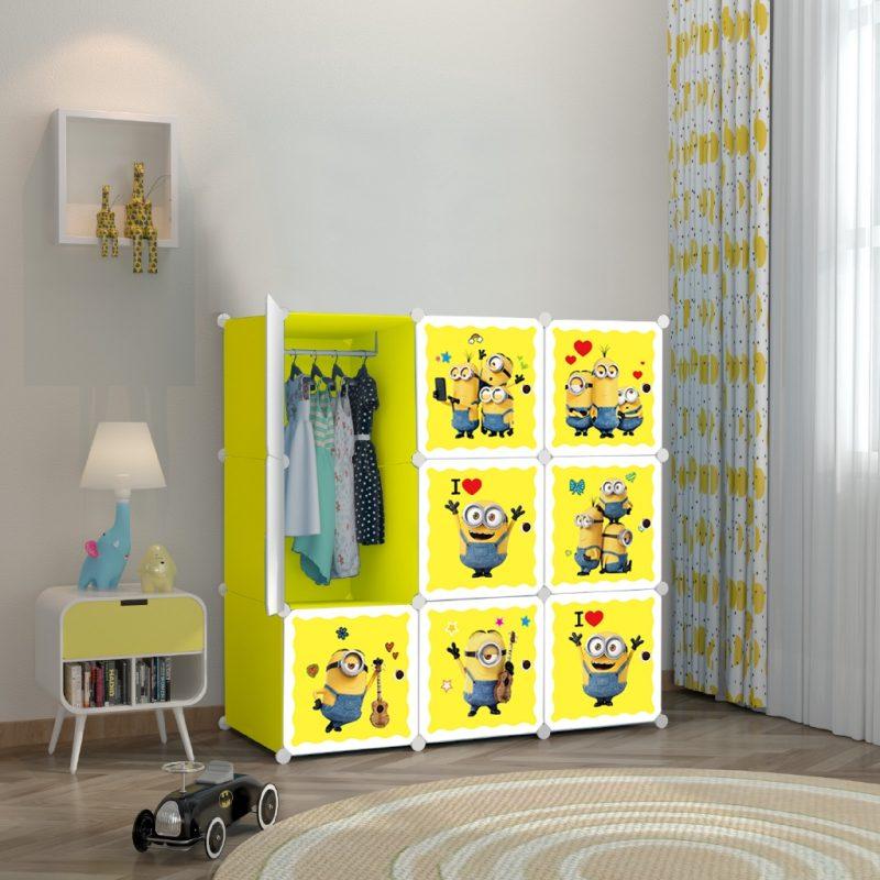 Minion Cartoon Design 9 Cube DIY Storage Cabinet Wardrobe