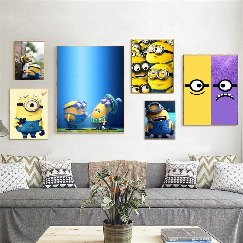 Movie Poster Minions Home Decor Canvas painting Hanging Wall Art Kids Bedroom  Decor Cute Poster Anime Cuadros Decoracion|Painting & Calligraphy| -  AliExpress