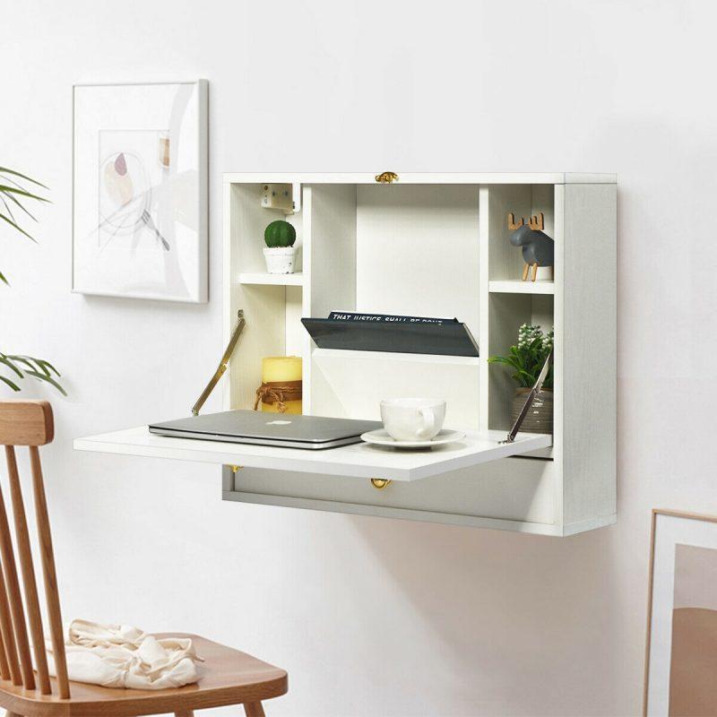 Shop Gymax White Wall Mounted Folding Laptop Desk Hideaway Organizer - Overstock - 29072994