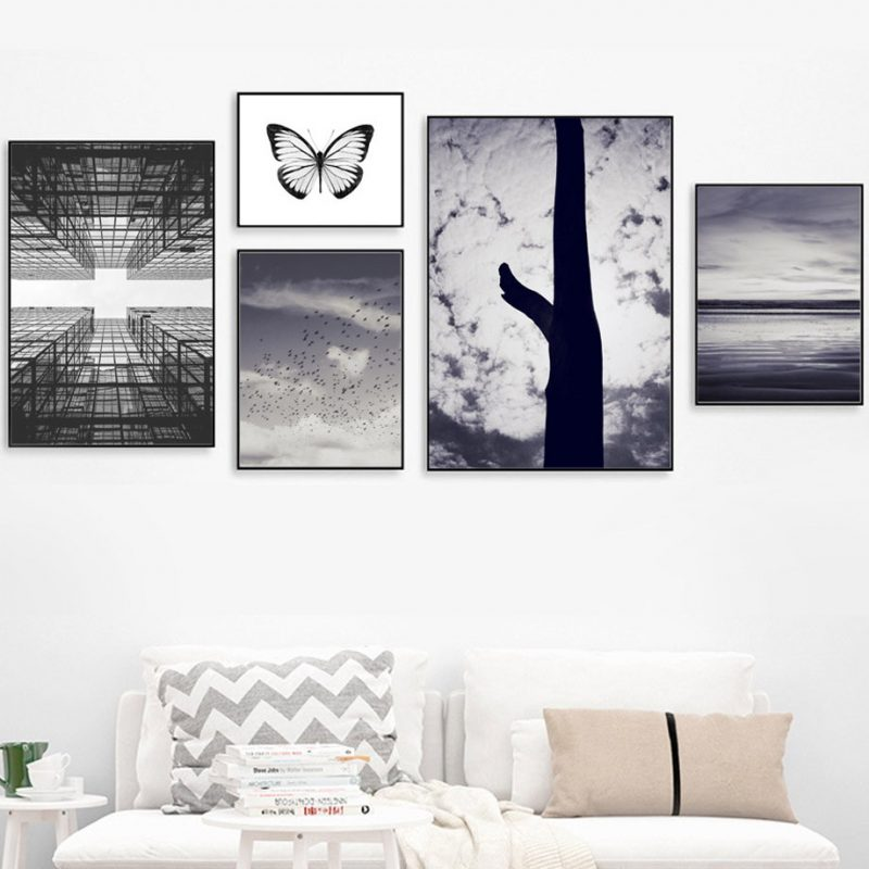 Sky Tree Butterfly Sea Landscape Wall Art Canvas Painting Nordic Posters And Prints Wall Pictures For Living Room Wall Decor Painting & Calligraphy  - AliExpress