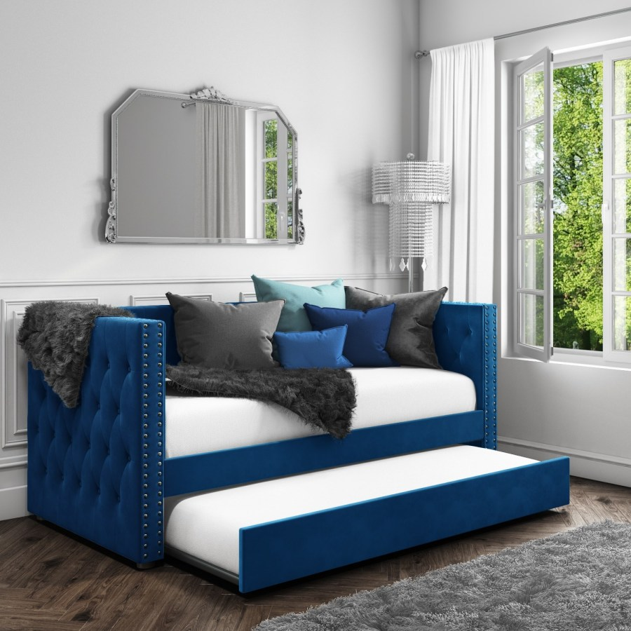 Sacha Velvet Day Bed in Navy Blue - Trundle Bed Included