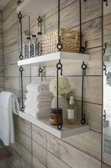 Inspiring Rustic Small Bathroom Wood Decor Design 17