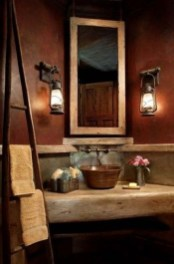 Inspiring Rustic Small Bathroom Wood Decor Design 39