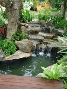 Awesome Small Waterfall Pond Landscaping Ideas Backyard14