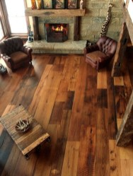 Inspiring Rustic Wooden Floor Living Room Design37