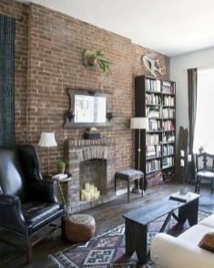 Ispiring Rustic Elegant Exposed Brick Wall Ideas Living Room30