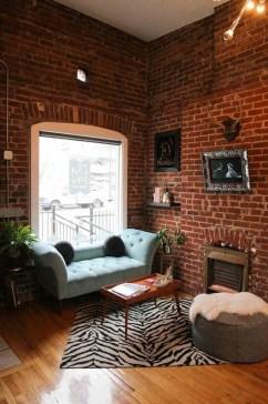 Ispiring Rustic Elegant Exposed Brick Wall Ideas Living Room47