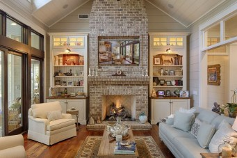Rustic Brick Fireplace Living Rooms Decorations Ideas05