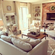 Rustic Brick Fireplace Living Rooms Decorations Ideas08