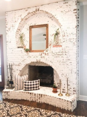 Rustic Brick Fireplace Living Rooms Decorations Ideas19