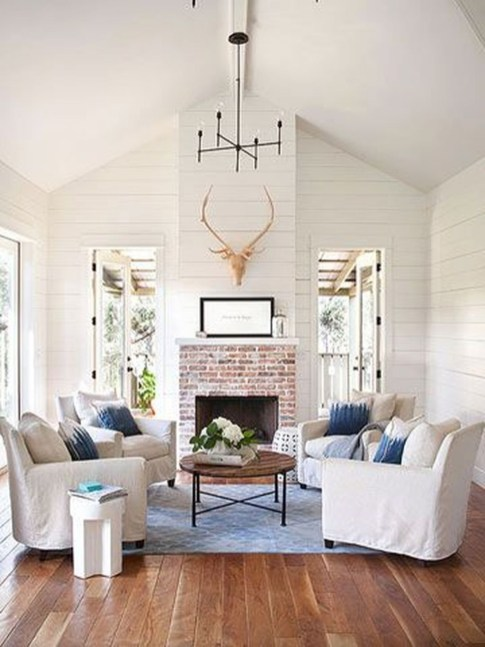 Rustic Brick Fireplace Living Rooms Decorations Ideas22