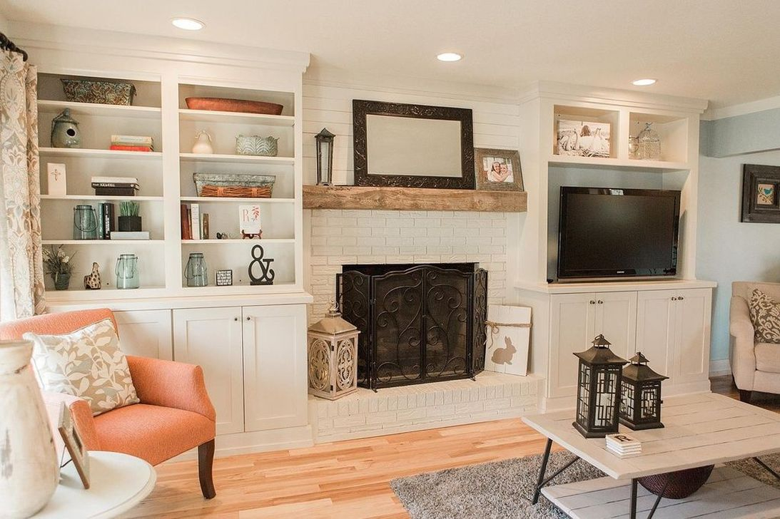 Rustic Brick Fireplace Living Rooms Decorations Ideas23