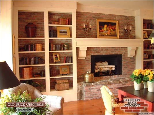 Rustic Brick Fireplace Living Rooms Decorations Ideas24