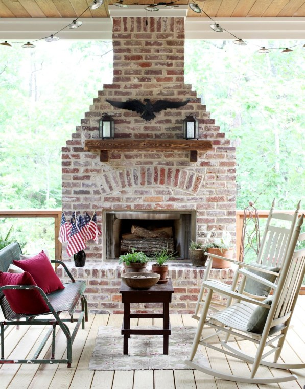Rustic Brick Fireplace Living Rooms Decorations Ideas25