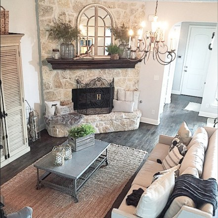 Rustic Brick Fireplace Living Rooms Decorations Ideas27