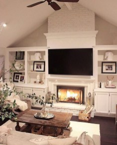 Rustic Brick Fireplace Living Rooms Decorations Ideas32