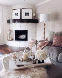 Rustic Brick Fireplace Living Rooms Decorations Ideas39