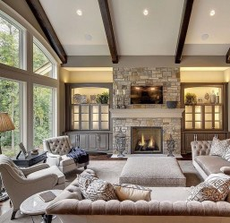 Rustic Brick Fireplace Living Rooms Decorations Ideas40
